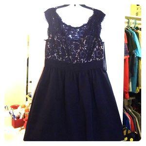 Navy and cream dress